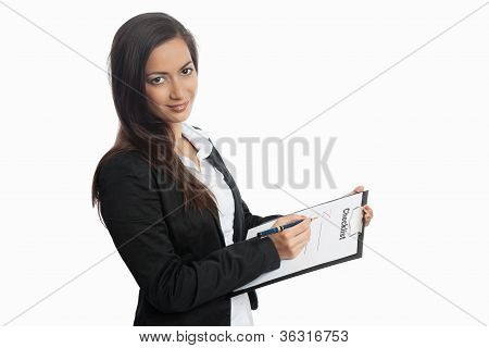 Asian Businesswoman With Checklist