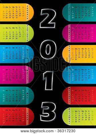 2013 Kalender auf dunklem Hintergrund
