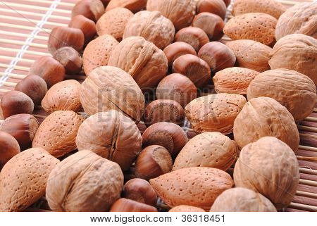 walnuts almonds and hazelnuts in a row