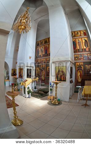 Interior Of Russian Orthodox Church In Novgorod Region, Russia. Fisheye.