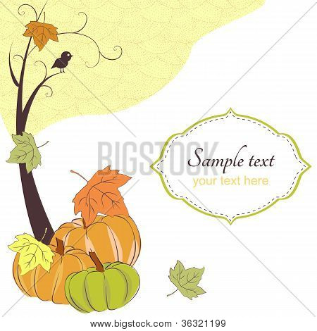 Autumn retro background with tree pumpkins and frame for text