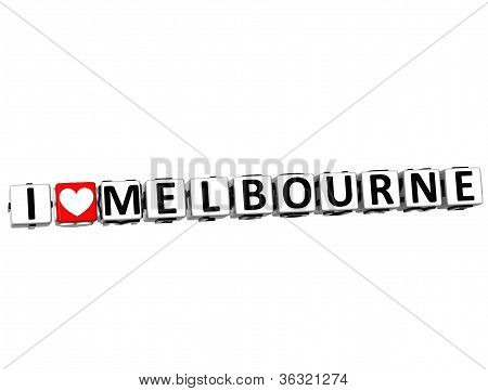 3D I Love Melbourne Button Click Here Block Text