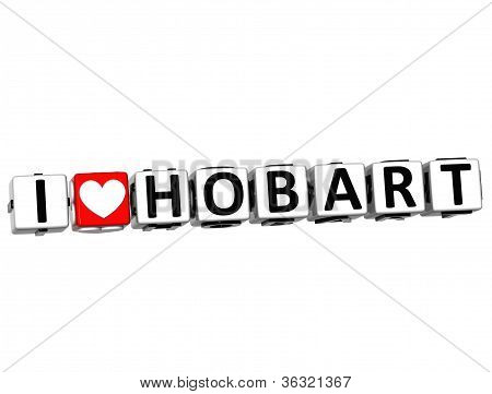 3D I Love Hobart Button Click Here Block Text