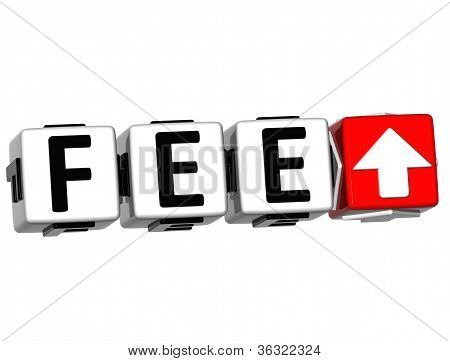 3D Fee Button Click Here Block Text