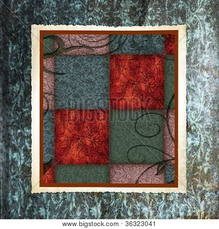 Vintage Framed Checkered Fabric Background