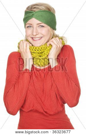 woman with warm wool scarf