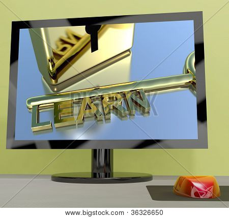 Learn Key On Computer Screen Showing Online Education