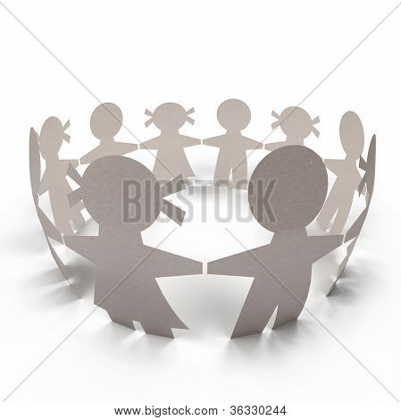 Circle Paper Doll People. Team Business . Isolated With Clipping