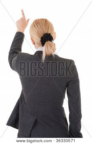 Pointing Business Woman From Back