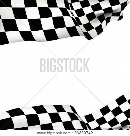 Checkered Flag On The Wind. Vector Background.eps