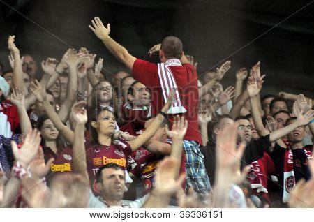 Soccer fans at a stadium
