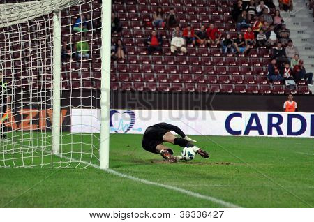 Goalkeeper defends a penalty
