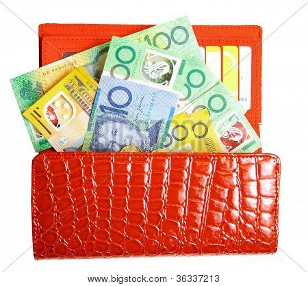Wallet filled with Australian dollars