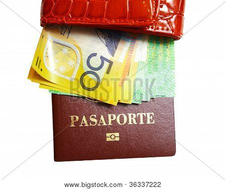 Wallet with  money and passport on isolated white background