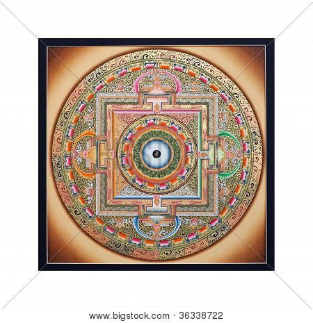 "Ancient Tibetan Tangka ""wheel Of Life"" (ohm Mandala)"