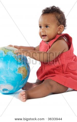 Baby Girl With A Globe Of The World