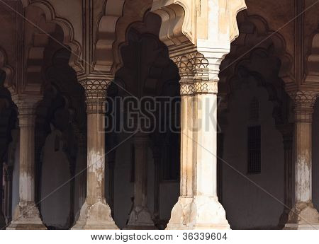 Ancient colonnade in Red Fort, India