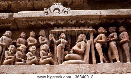 fragmento do famoso templo erótico em Khajuraho, na Índia