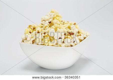 Bowl Of Popcorn On Whtie