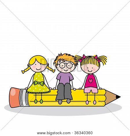 children sitting on a pencil