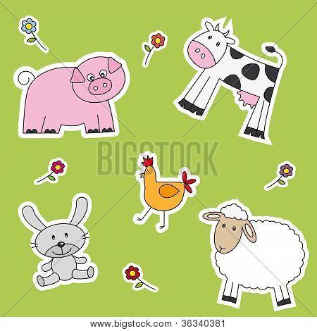 Lot of farm animals