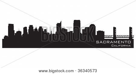 Sacramento, California Skyline. Detailed Vector Silhouette