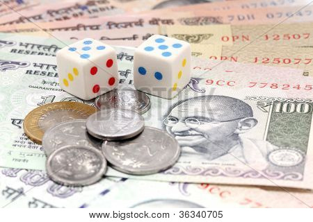 Dices And Rupee Coins On Indain Currency