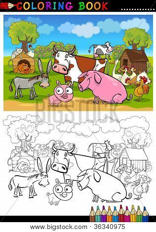 Farm And Livestock Animals For Coloring