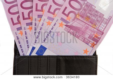 Wallet With Notes Of Five Hundred Euros