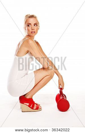 Trendy Woman With Red Accessories