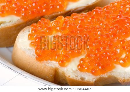 Macro Shot Of Two Caviar Sandwiches