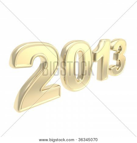 """Year """"2013"""" Two Thousand And Thirteen Golden Symbol"""