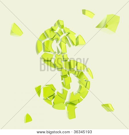 Dollar Currency Symbol Broken Into Tiny Pieces Isolated