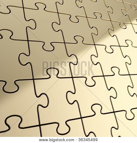 Puzzle Jigsaw Background Made Of Shiny Metal Pieces