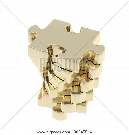 Stack Of Puzzle Jigsaw Glossy Pieces Isolated