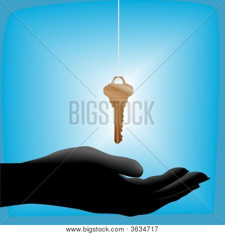 Glowing House Key Drops Into A Cupped Hand Held Out
