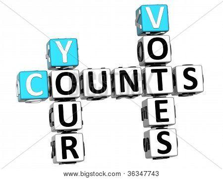 3D Counts Your Votes Crossword