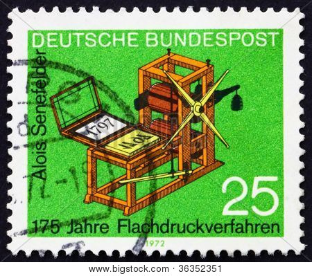 Postage stamp Germany 1972 Senefelder's Lithography Press