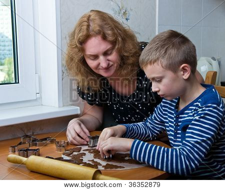 Mother And Son Baking Cookies
