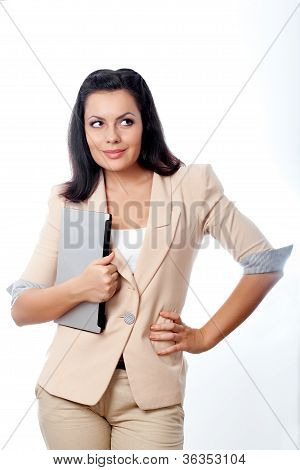 beautiful woman holding laptop
