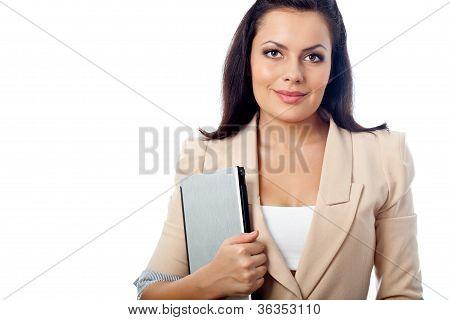 beautiful woman holding laptop