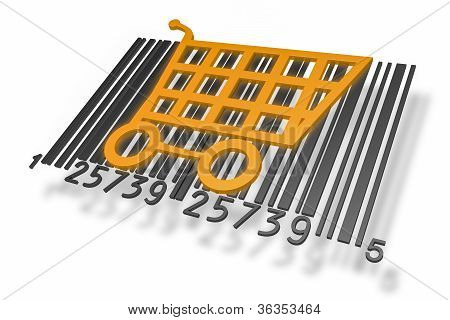 Barcode with shopping cart
