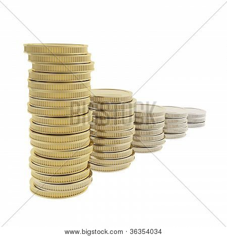 Row Of Coin Pile Stacks Transforming From Gold To Metal