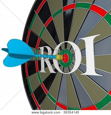 The letters ROI on a dartboard symbolizing return on investment and the profits and gains you can get from investing in stocks or saving your money with interest