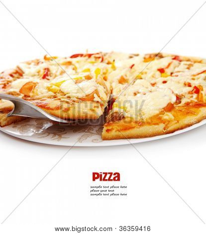 Supreme Pizza lifted slice with tuna and paprika isolated over white background.
