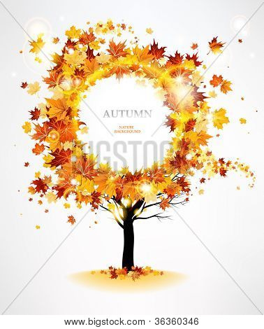 Autumn tree with beautiful flying leaves with space for text