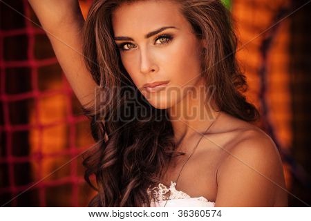 beautiful brunette woman portrait outdoor shot summer day