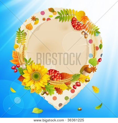 Autumn vintage bubble with colorful leaves and place for text. Check my portfolio for vector version.