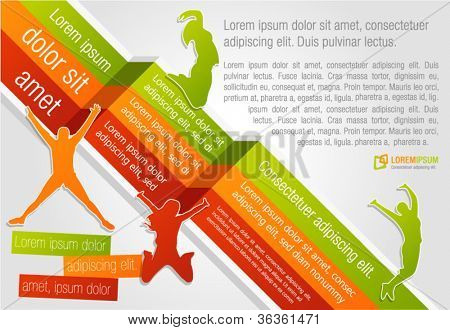 Colorful template for advertising brochure with people jumping
