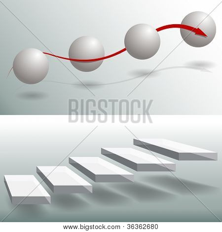 An image of a set of sphere and stair business charts.